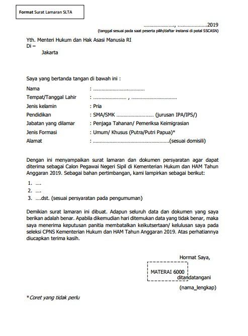 Form Surat Lamaran SLTA 2019